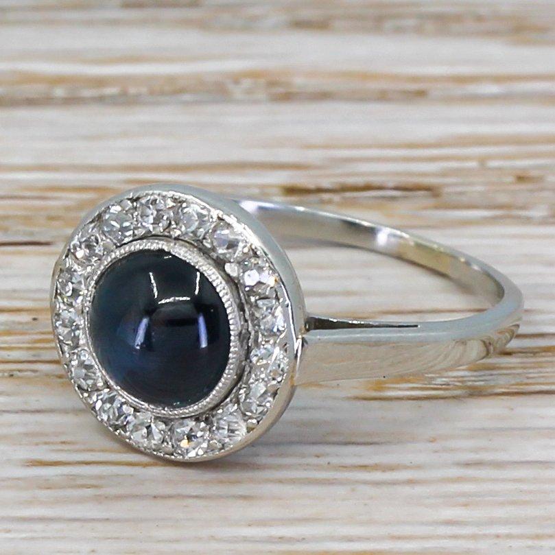 art deco 186 carat cabochon sapphire 038 old cut diamond ring circa 1925