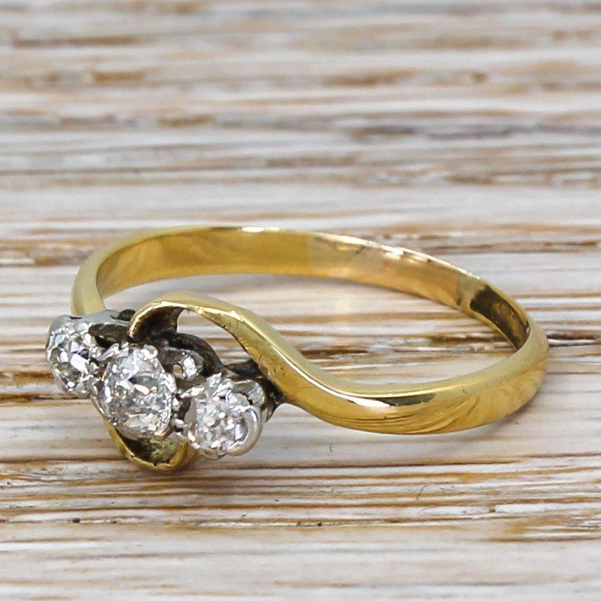 art deco 030 carat old cut diamond trilogy ring circa 1920