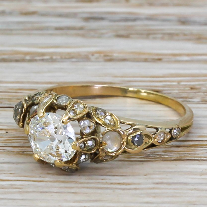 early victorian 079 carat old cut diamond solitaire ring circa 1840