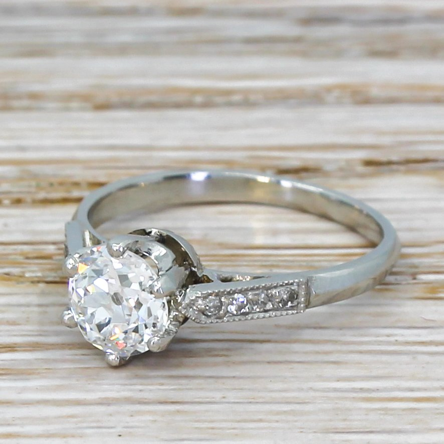 art deco 101 carat old cut diamond engagement ring circa 1925