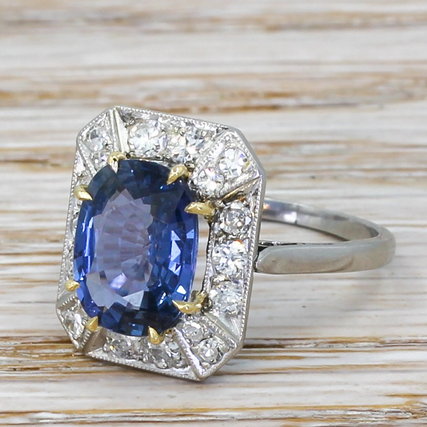 art deco 344 carat natural sapphire 038 diamond ring circa 1930