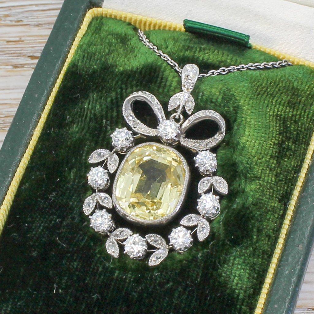 edwardian 824 carat natural ceylon yellow sapphire pendant circa 1910