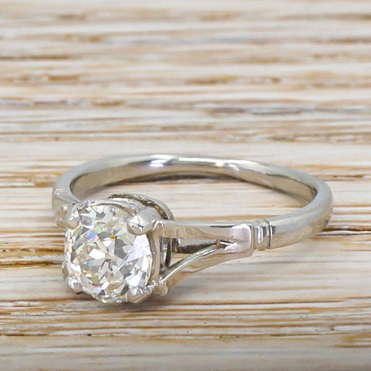 art deco 124 carat old cut diamond engagement ring circa 1935