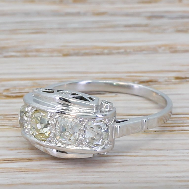 mid century 097 carat diamond four stone ring circa 1950
