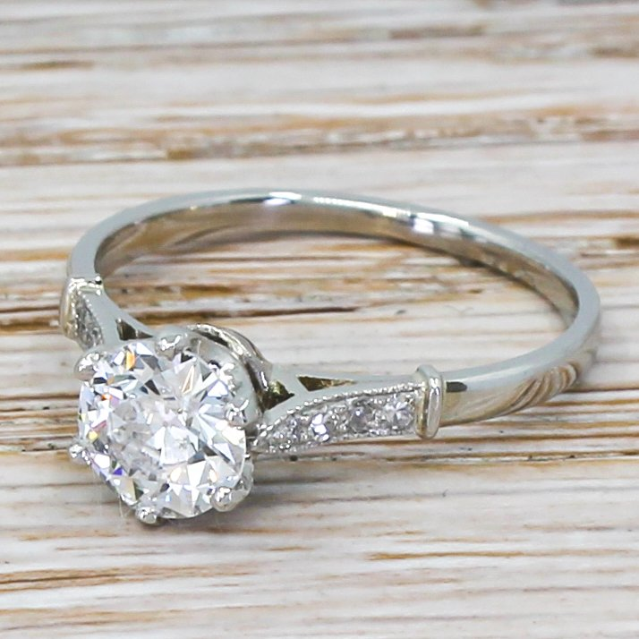 art deco 100 carat old cut diamond engagement ring circa 1920