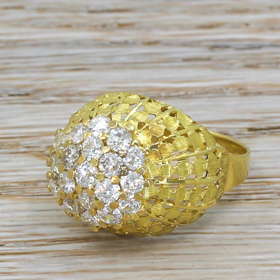 mid century 145 carat old cut diamond cluster ring circa 1970