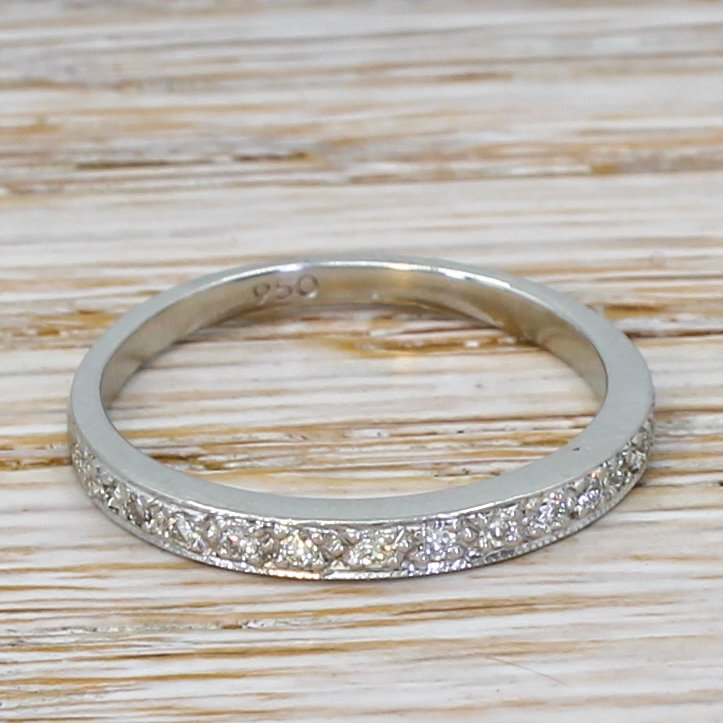 mid century 022 carat round brilliant cut diamond half eternity ring circa 1965