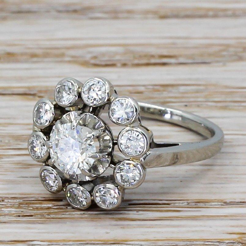 mid century 134 carat transitional cut diamond cluster ring circa 1960