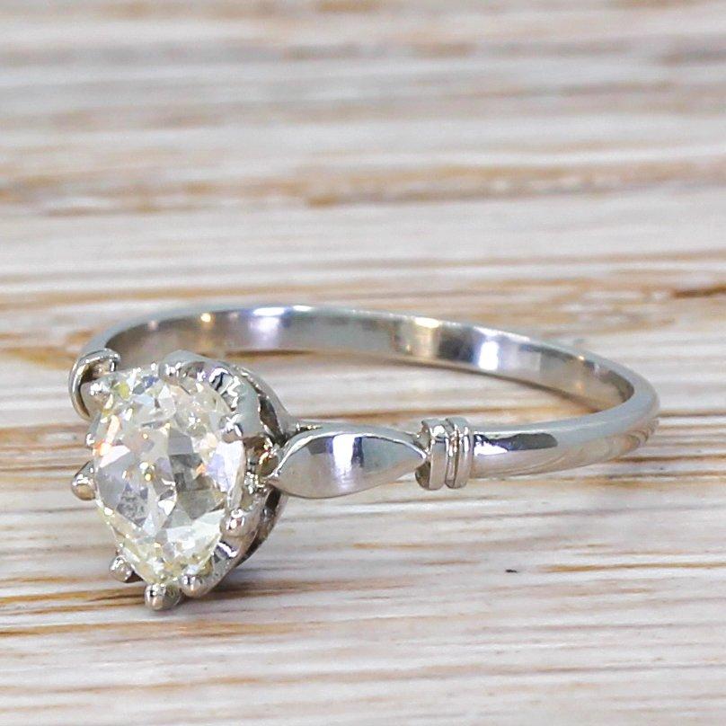 art deco 080 carat old pear cut diamond engagement ring circa 1920