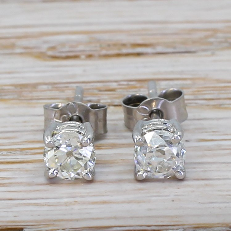 093 carat old cut diamond stud earrings 18k white gold