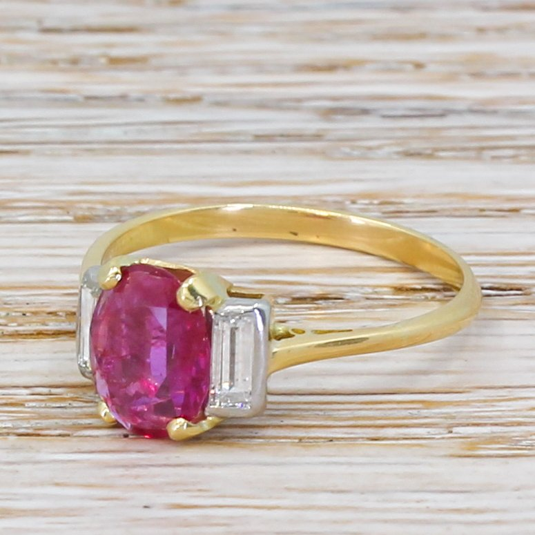 art deco 142 carat burmese pink sapphire 038 diamond ring circa 1920