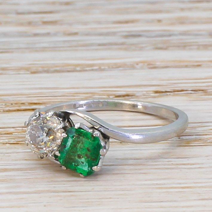 art deco 074 carat old cut diamond 038 emerald crossover ring circa 1930