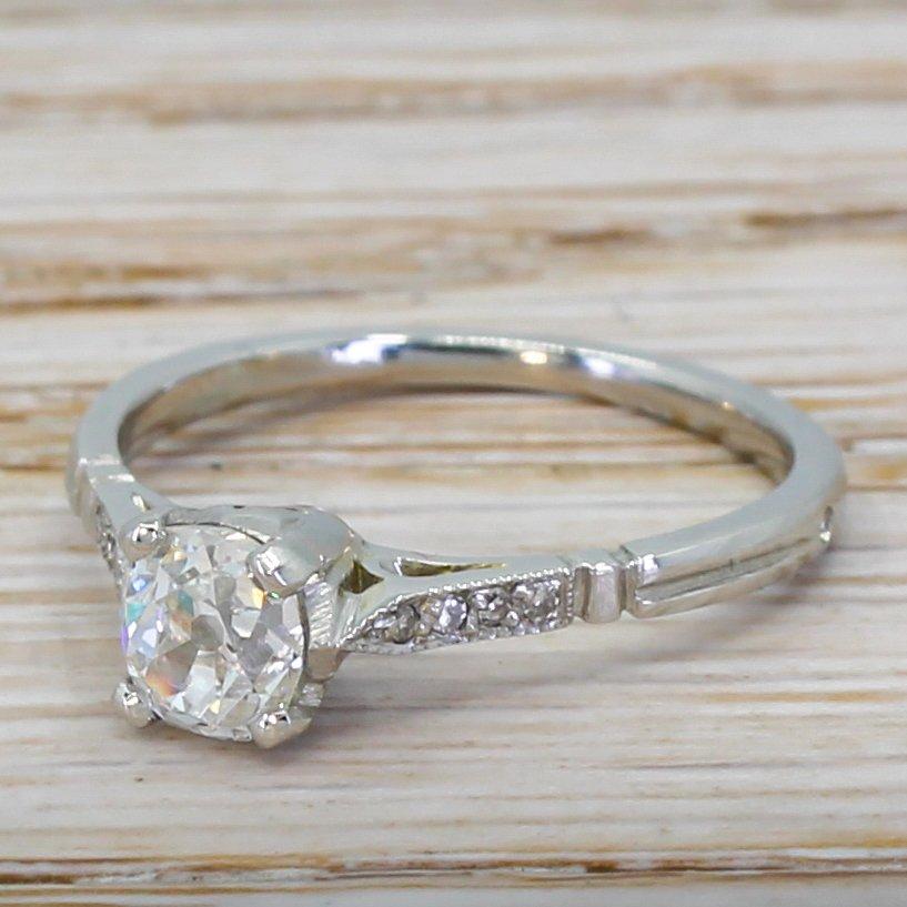 art deco 063 carat old cut diamond engagement ring circa 1925