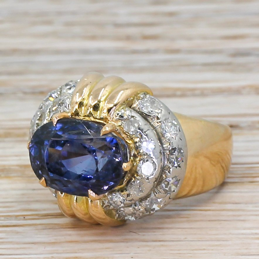 art deco 655 carat natural ceylon sapphire 038 diamond ring circa 1945