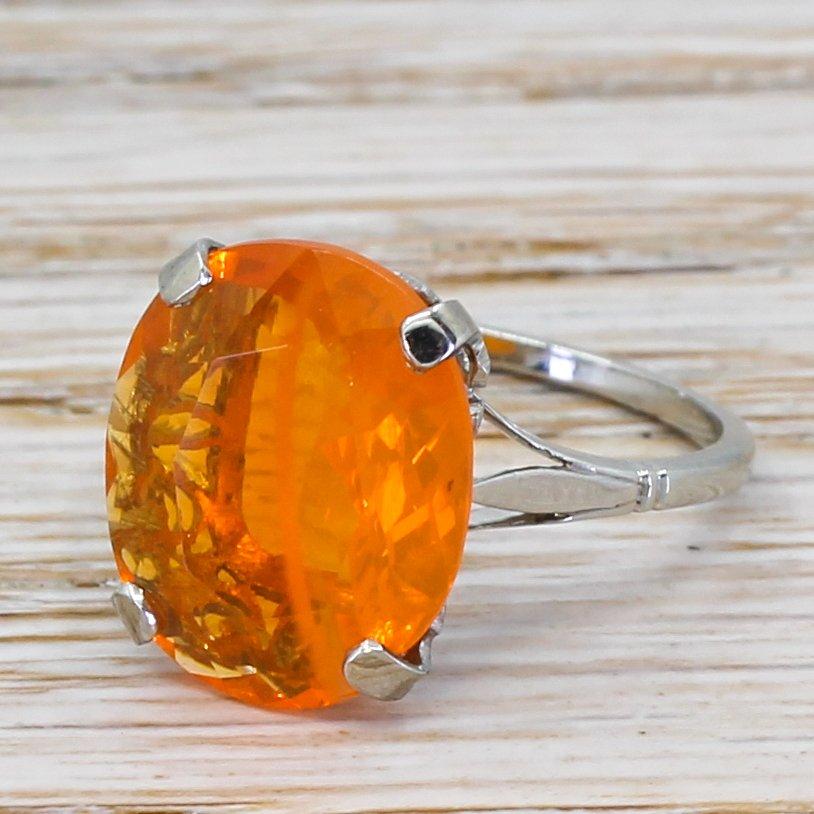 art deco 332 carat fire opal solitaire ring circa 1930