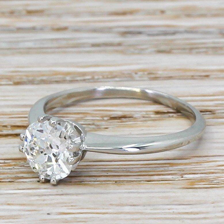 art deco 115 carat old cut diamond engagement ring circa 1920