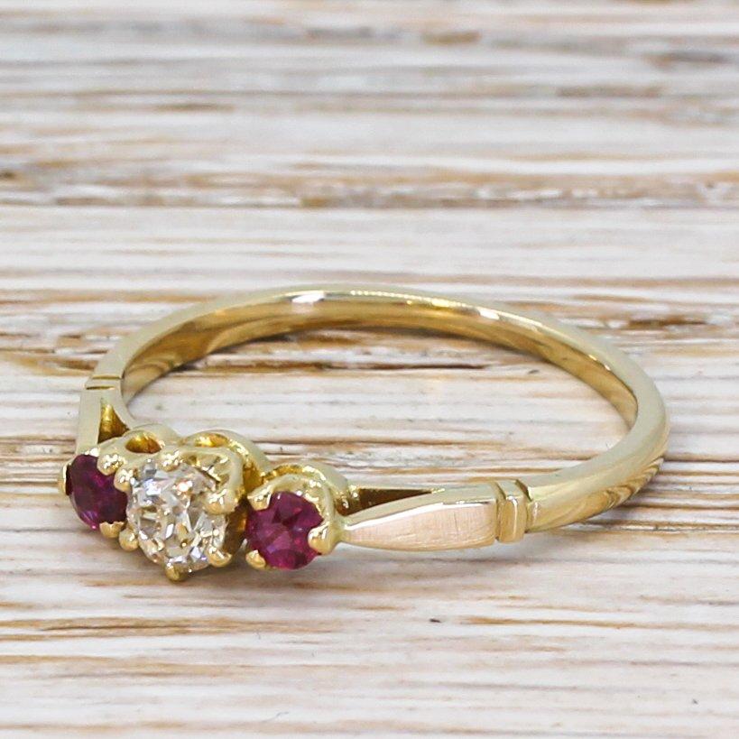 art deco 022 carat old cut diamond 038 ruby trilogy ring circa 1920
