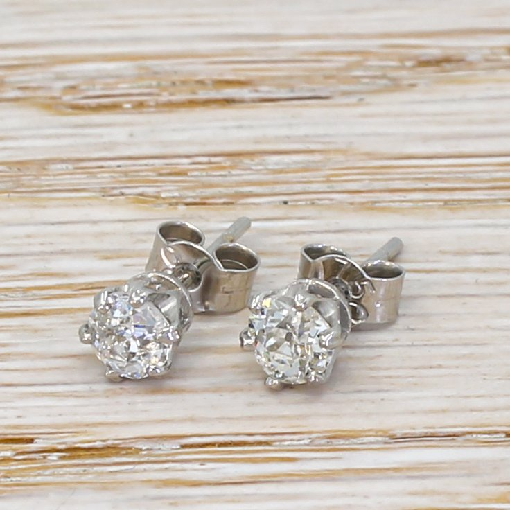 081 carat old cut diamond stud earrings 18k white gold