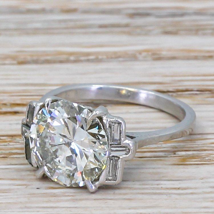 mid century 296 carat round brilliant cut diamond engagement ring circa 1950