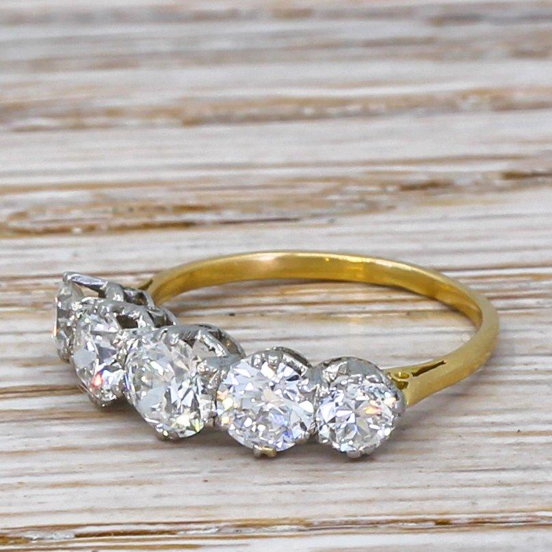 art deco 150 carat old cut diamond five stone ring circa 1920