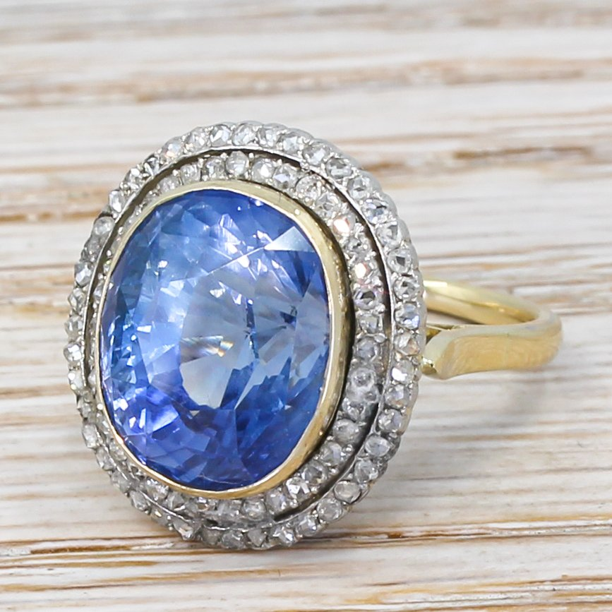 art deco 1235 carat natural ceylon sapphire 038 diamond ring circa 1915