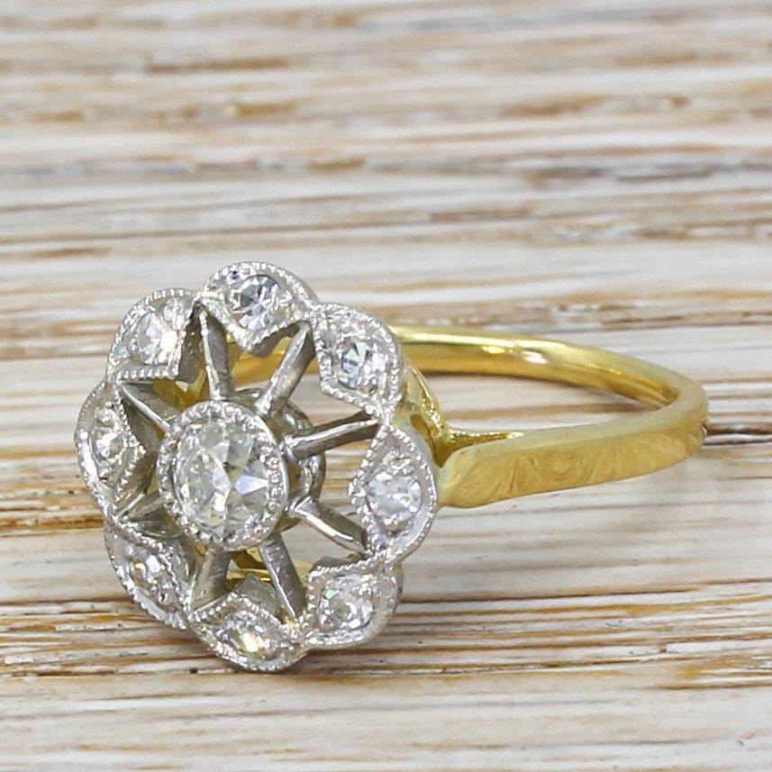art deco 049 carat old cut diamond cluster ring circa 1925