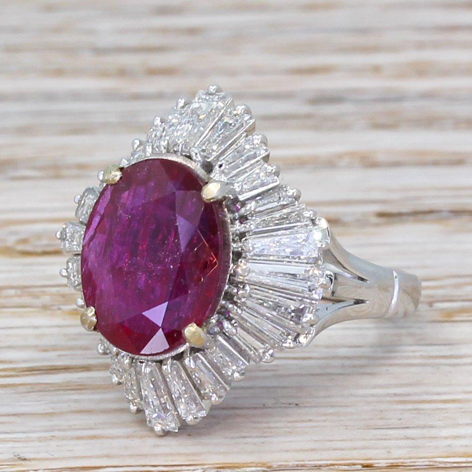 mid century 726 carat natural ruby 038 diamond ballerina ring circa 1970