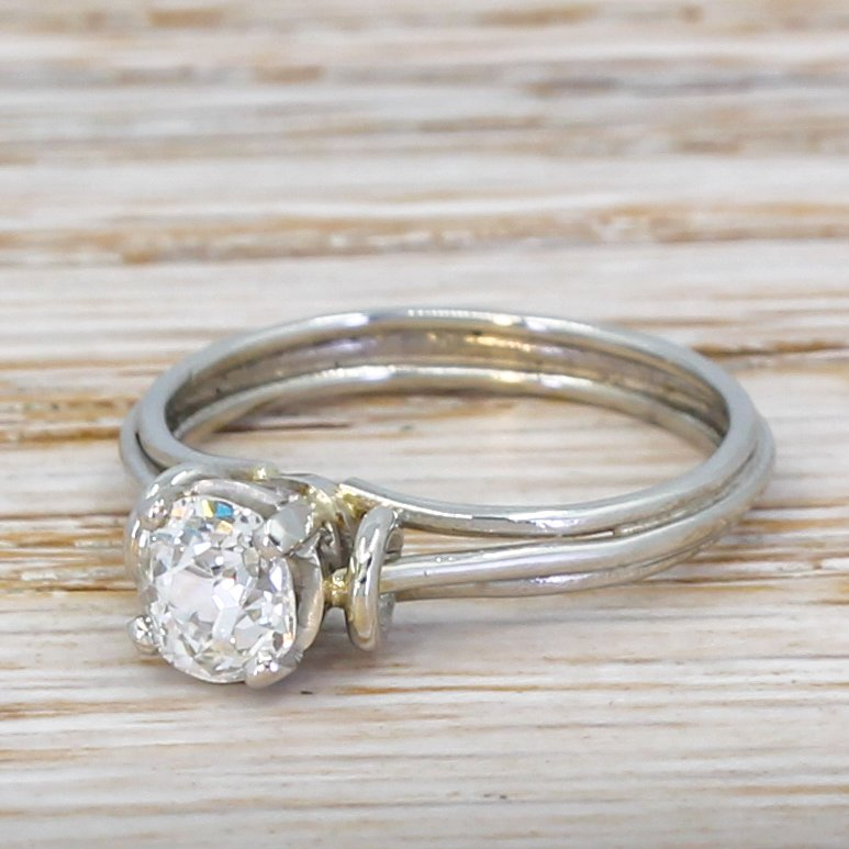 mid century 062 carat old cut diamond engagement ring circa 1960