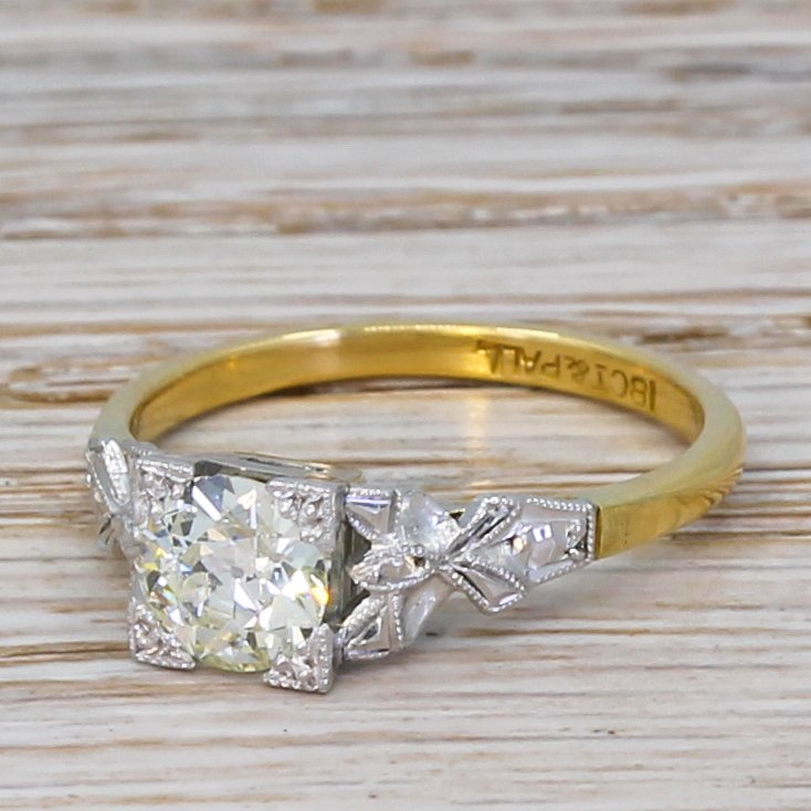 art deco 078 carat old cut diamond engagement ring circa 1940