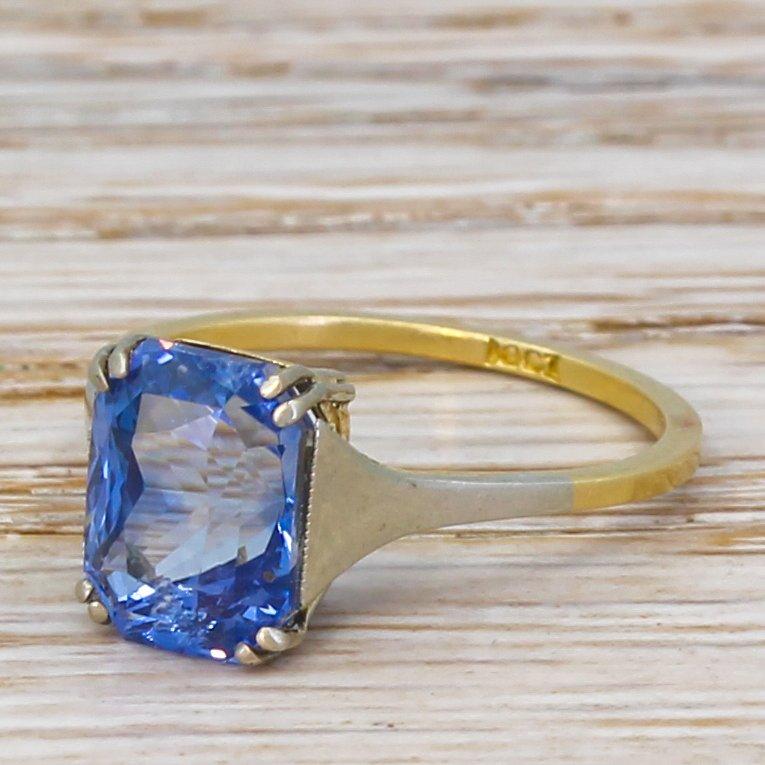 art deco 463 carat natural ceylon sapphire solitaire ring circa 1935