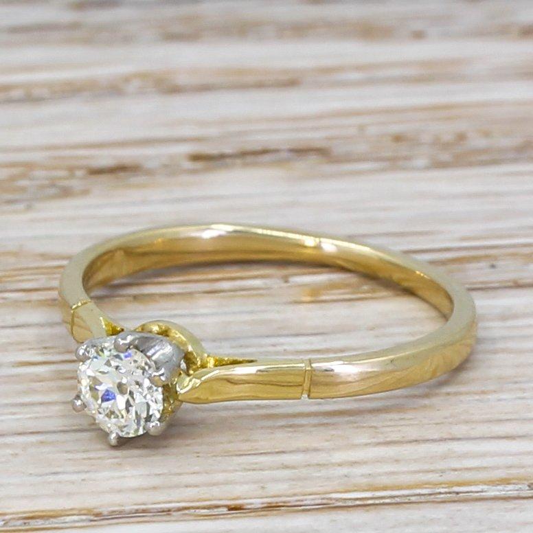 art deco 033 carat old cut diamond engagement ring circa 1925