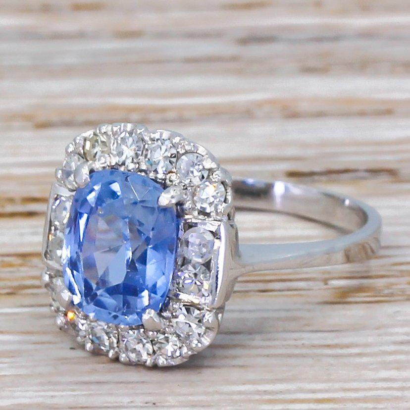 art deco 300 carat natural ceylon sapphire 038 diamond ring circa 1930