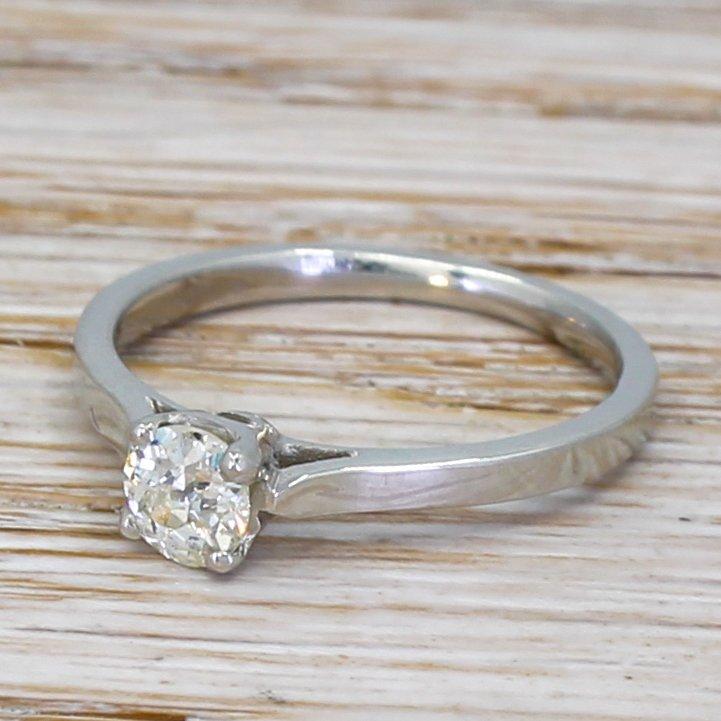 art deco 032 carat old cut diamond engagement ring circa 1935