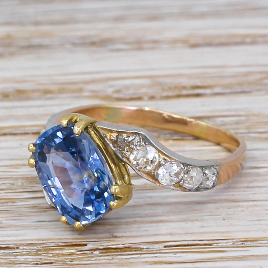 art deco 304 natural ceylon sapphire solitaire ring circa 1935