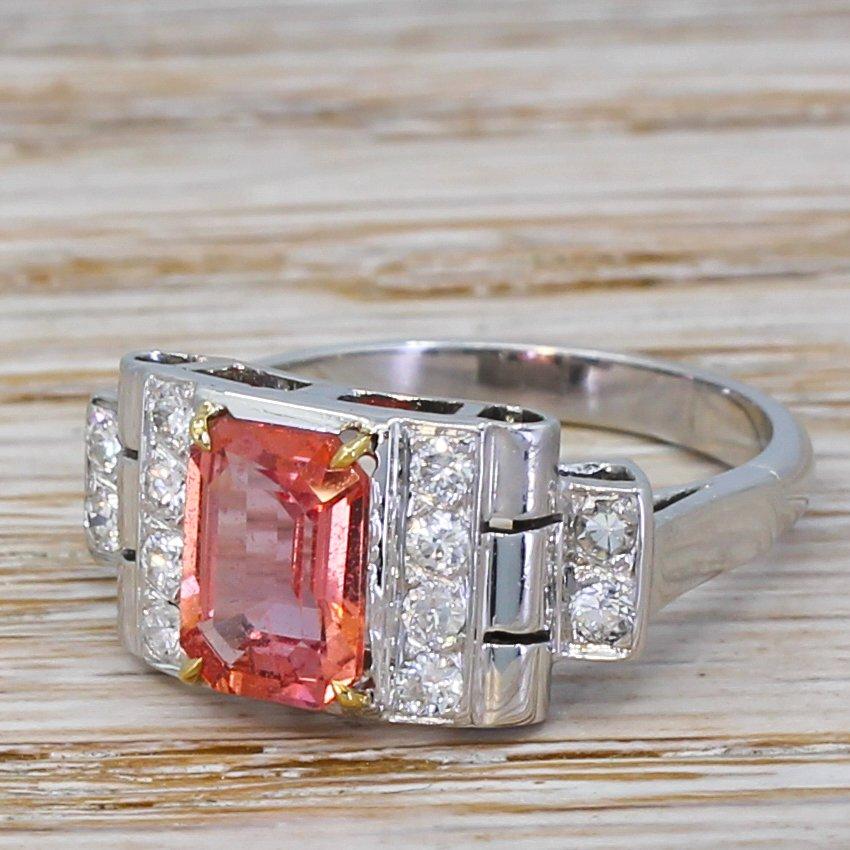 art deco 191 carat padaparadscha sapphire 038 diamond ring circa 1940