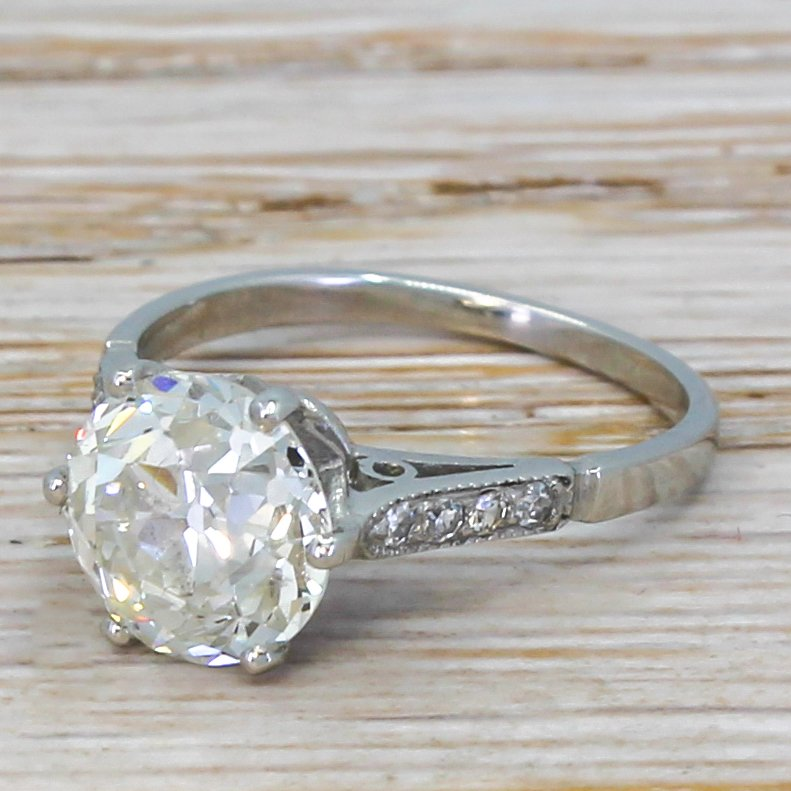 art deco 243 carat old cut diamond engagement ring circa 1920