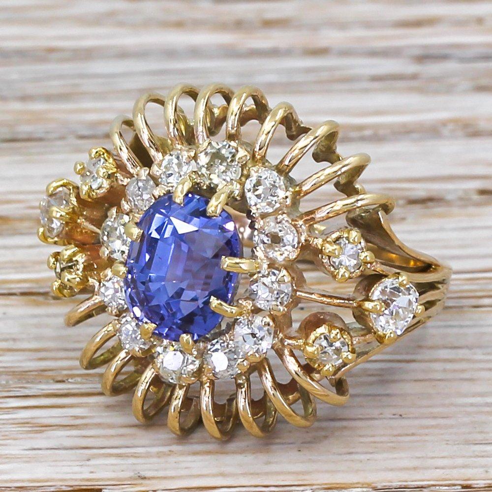 mid century 518 carat natural colour change sapphire 038 old cut diamond ring circa 1970