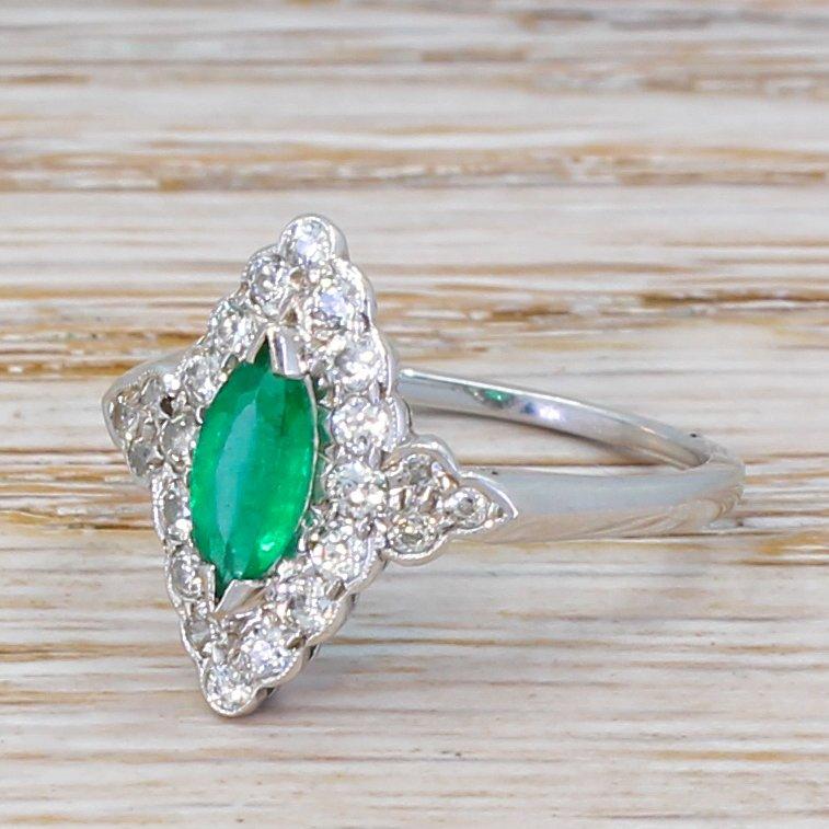 mid century 050 carat emerald 038 old cut diamond navette cluster ring circa 1960