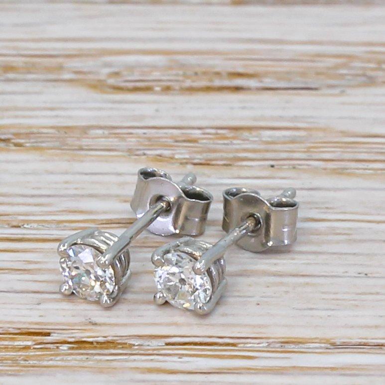 050 carat old cut diamond stud earrings platinum