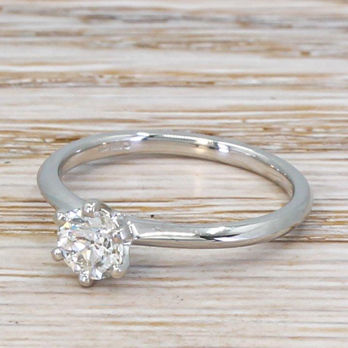 056 carat old cut diamond engagement ring platinum