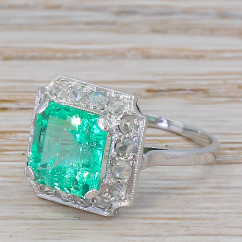 art deco 297 carat emerald 038 rose cut diamond cluster ring circa 1935