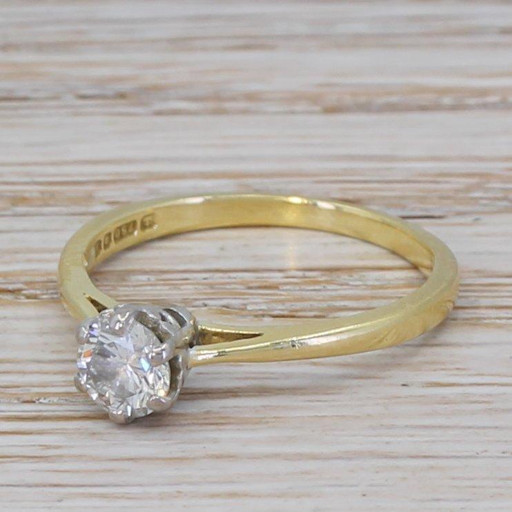 late 20th century 045 carat diamond engagement ring dated 1984