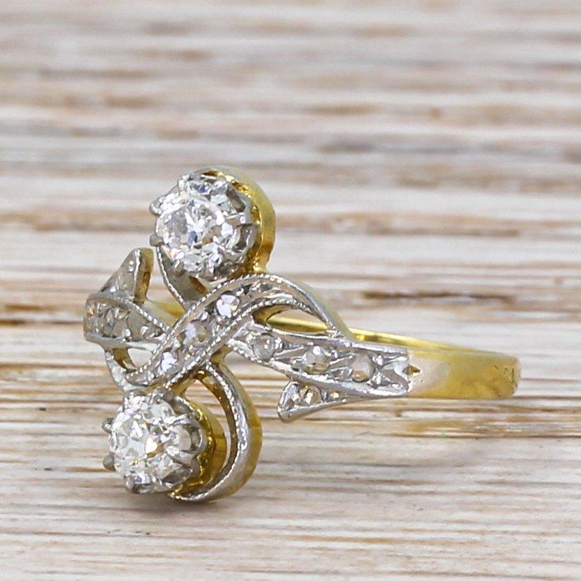 art nouveau 046 carat old cut diamond toi et moi ring circa 1910