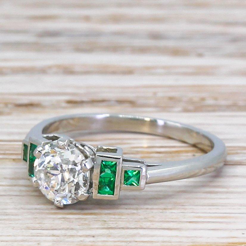 085 carat old european cut diamond 038 emerald ring platinum