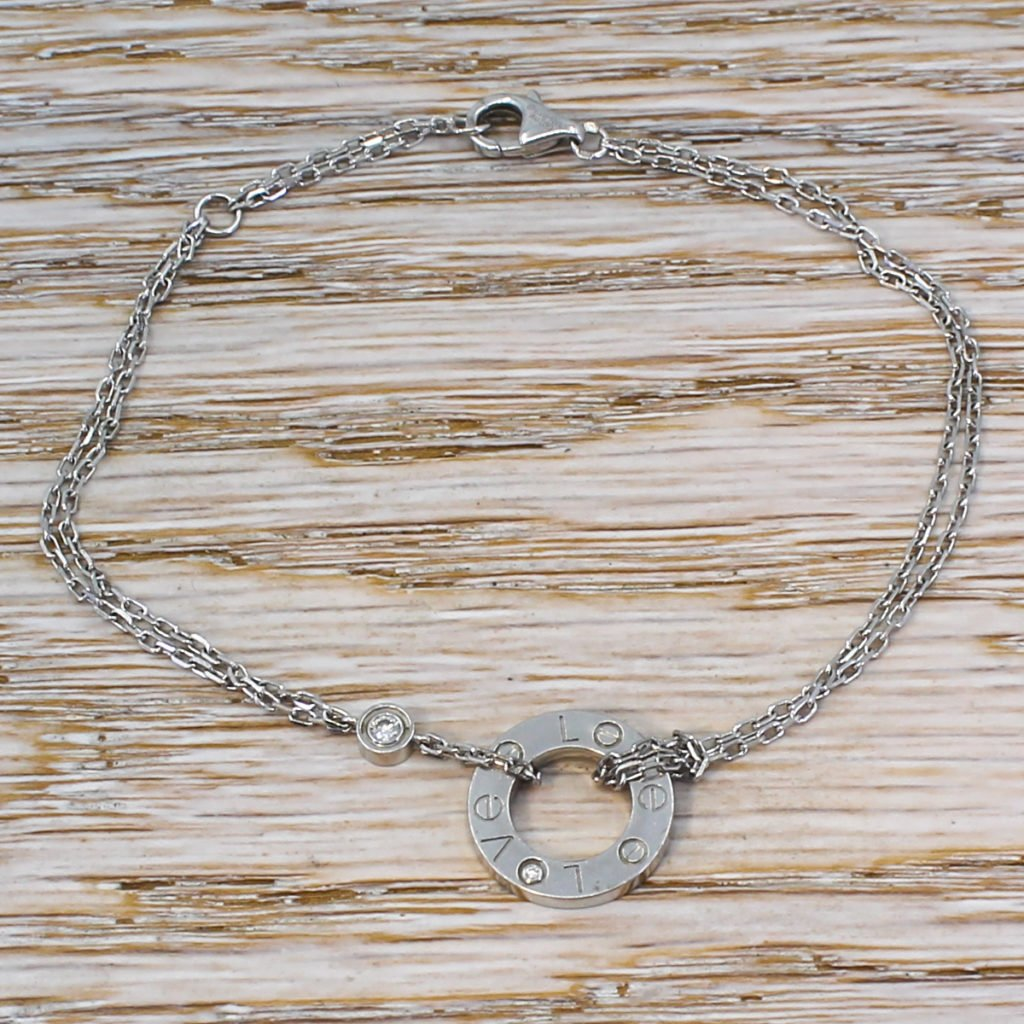 cartier white gold double chain love bracelet