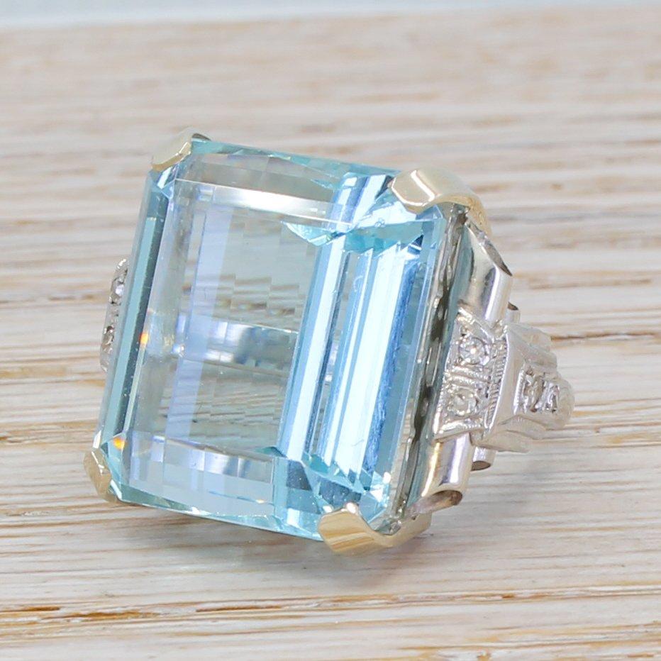 mid century 3344 carat emerald cut aquamarine ring circa 1950