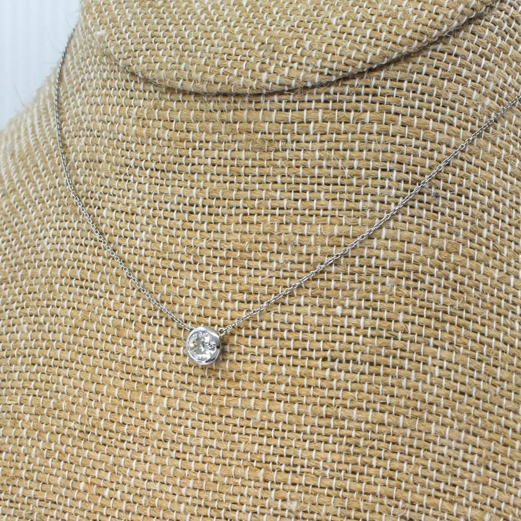 046 carat old cut diamond solitaire pendant necklace platinum