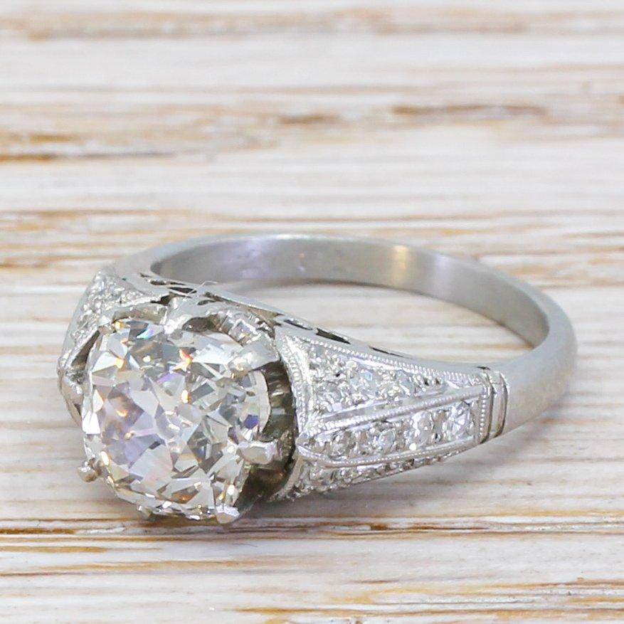 art deco 261 carat old cut diamond engagement ring circa 1935