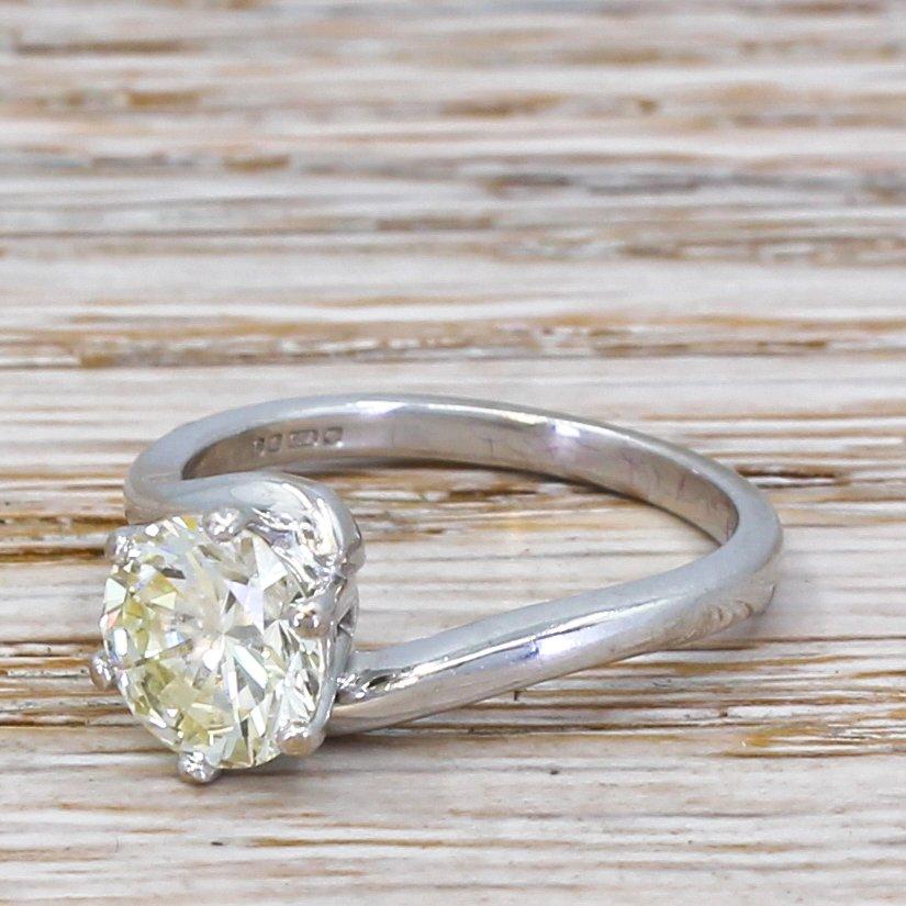 150 carat round brilliant cut diamond solitaire ring 18k white gold