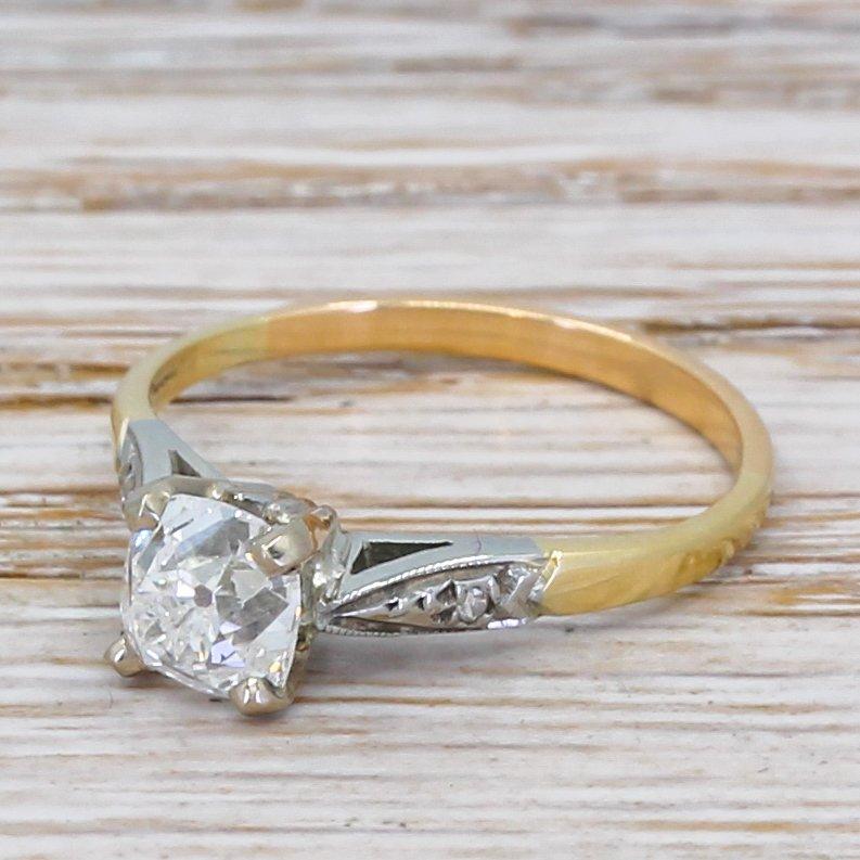 art deco 101 carat old cut diamond engagement ring circa 1940